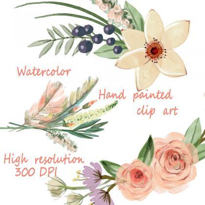 Watercolor hand painted floral fram..