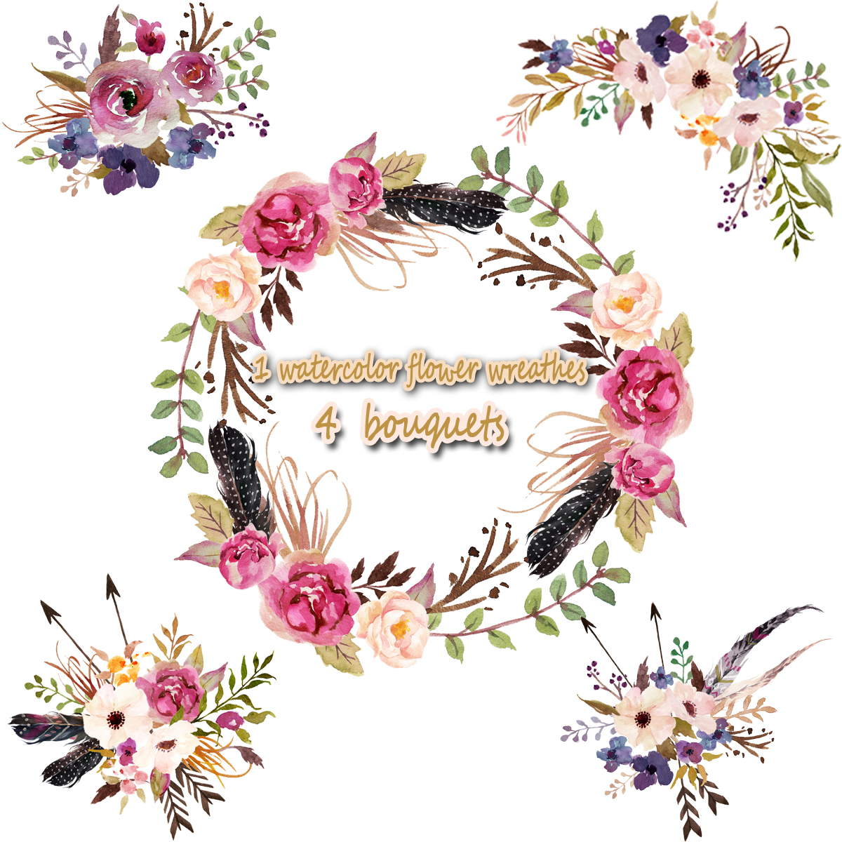 1 Watercolor Flower Wreathes 4 Flower Bouquet Floral Frame Png