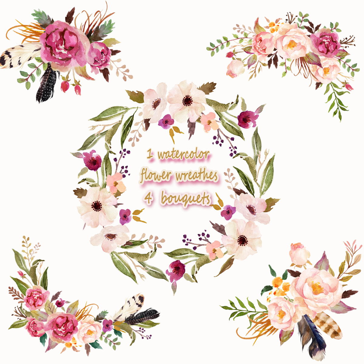 1 Watercolor Flower Wreathes&4 Flower Bouquets,Floral Frame PNG ...