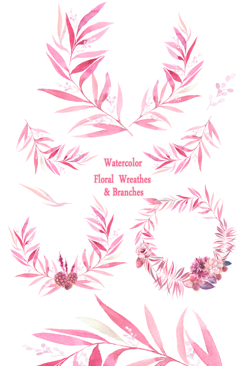 Watercolor Floral Wreaths Branches Leaves Invitation Greeting