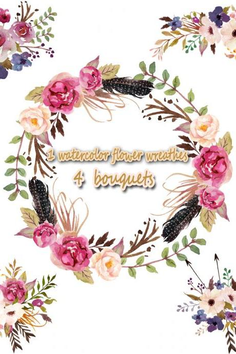 1Watercolor flower wreathes&4 flower bouquet,,Floral Frame PNG, wedding bouquet, arrangement, bouquet, digital paper, green flowers, bridal shower, for blog banner