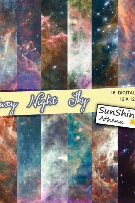 Galaxy Digital Paper, Sparkle & Glitter Star Night Sky Digital Paper, Wishing Star, Cosmic Space, Midnight Background, Starry Skies