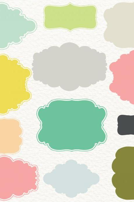 Pastel frames clipart: Digital frames 'PASTEL FRAMES' pack with vintage pastel color frames, tags and shapes