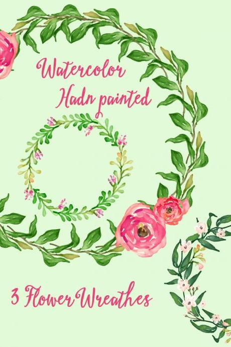 Romantic Roses wreath, floral watercolor Clipart. Hand painted, floral, wedding diy, quote, flowers, invite, roses, png