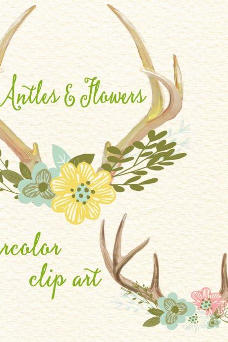 Antlers and Flowers - Watercolor floral antlers, Clip art flowers with deer horn, Wedding floral digital clip art, Watercolor clip art