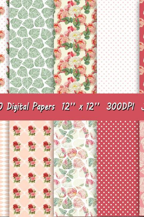 Digital paper with flower pattern, roses background and polkadots print in a beautiful combination of coral, pink and white.