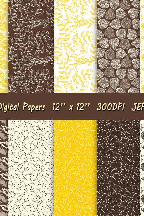 Digital paper in a beautiful scrapbook set with yellow and brown patterns featuring flowers and leaves
