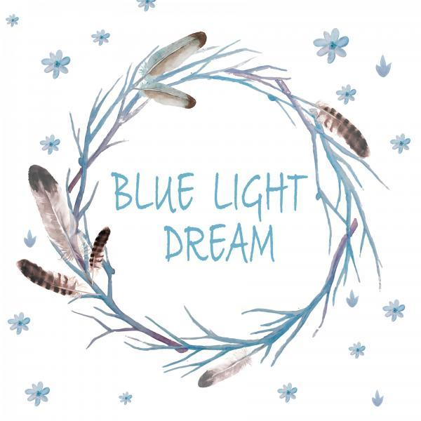 Blue light dream Print digital  WallArt Digital Watercolro Blue Feather Wreath PNG