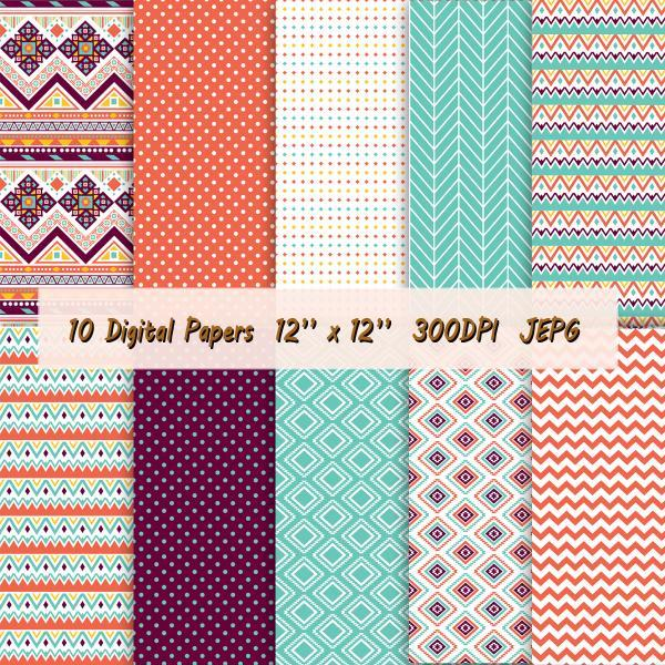 Digital paper including aztec patterns and geometric models in vibrant colors: orange, turquoise, dark brown and white